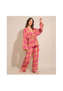 Calça Pantalona Alfaiataria De Viscose Estampada Xadrez Cintura Super Alta Rosa
