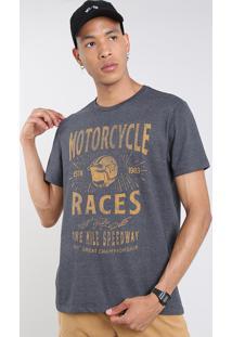 "Camiseta Masculina ""Motorcycle Races"" Manga Curta Gola Careca Cinza Mescla Escuro"