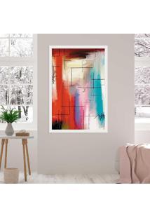 Quadro Love Decor Com Moldura Traços À Giz Abstrato Branco Médio