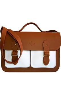 Bolsa Line Store Leather Satchel Pockets Grande Couro Bicolor Savannah Premium X Branco - Kanui