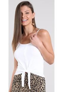 Regata Feminina Canelada Com Nó E Botões Alças Finas Decote Redondo Off White