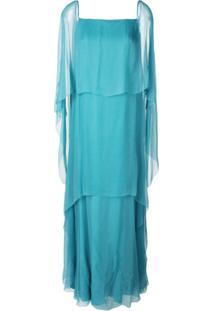 Alberta Ferretti Vestido Longo De Seda - Azul