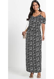 Vestido Animal Print Zebra Preto