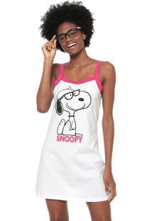 Camisola Snoopy Estampada Branca/Pink