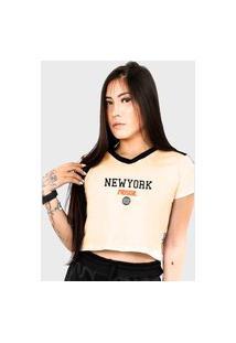 Camiseta Cropped Feminino Prison New York Track Off White