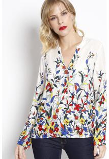 Blusa Floral Com Barrado - Branca & Azul Escuro - Vivip Reserva