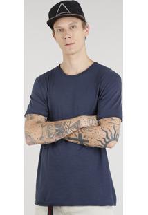 Camiseta Masculina Manga Curta Gola Careca Azul Marinho