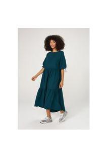 Vestido Hering Midi Em Tecido De Algodáo Com Mangas Bufantes Verde