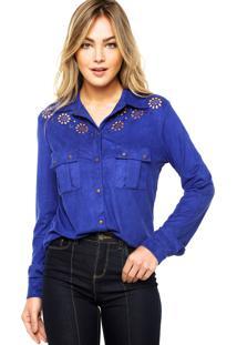 Camisa Manga Longa Carmim Recortes Azul