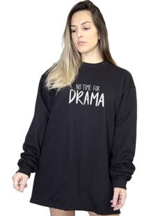 Casaco Moletom Boutique Judith No Time For Drama Preto - Kanui