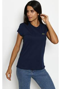 Camiseta Com Recortes- Azul Marinho & Prateadaclub Polo Collection