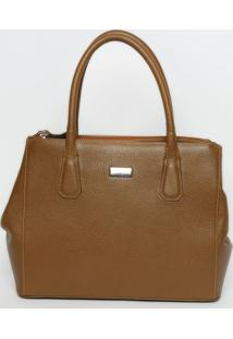 Bolsa Em Couro Texturizada- Marrom Claro- 27X41X14Cmgriffazzi