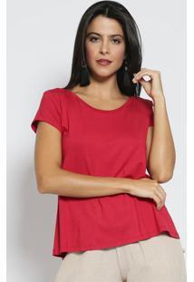 Camiseta Com Manga Curta- Vermelha- Blessbless