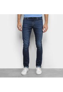 Calça Jeans Slim Lacoste Estonada Masculina - Masculino-Azul