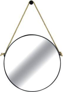 Espelho Redondo Hanoi Prata Com Moldura Preta 75 Cm - 35758 - Sun House