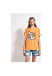 Blusa Gola Redonda Manga Curta Estampa Tom & Jerry | Blue Steel | Amarelo | P
