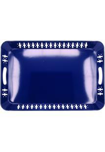 Bandeja Com Vazados- Azul Escuro- 4X51X34Cm- Btcbtc Decor