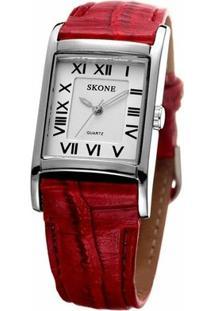 Relógio Skone Analógico 9107 - Feminino-Vermelho
