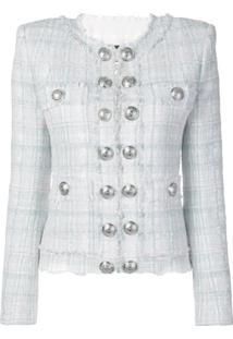 Balmain Blazer De Tweed Com Botões - Branco