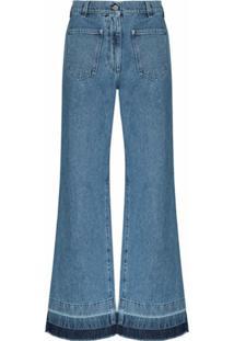 Jw Anderson Calça Jeans Flare Com Bolsos - Azul