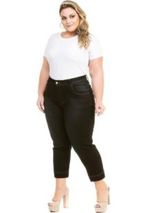 Calça Confidencial Extra Plus Size Jeans Capri Cetim Feminina - Feminino-Preto