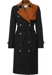 Burberry Trench Coat Gabardine Bicolor De Algodão - Preto
