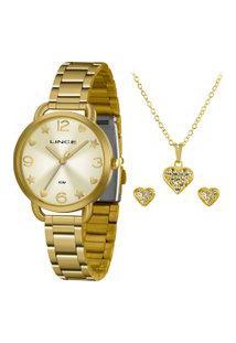 Kit De Relógio Analógico Lince Feminino + Brinco + Colar - Lrgh126L Kx17C2Kx Dourado