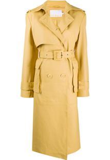 Remain Trench Coat Amarelo Com Cinto De Couro
