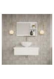 Conjunto Para Banheiro Bancada Com Cuba R30 Redonda E Espelheira City 601 Branco Chess