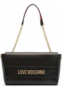 Love Moschino Bolsa Tiracolo Com Alça De Corrente E Placa De Logo - Preto