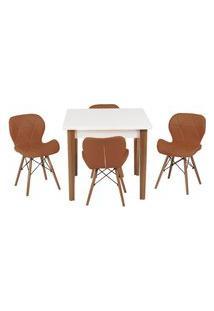 Conjunto Mesa De Jantar Luiza 80Cm Branca Com 4 Cadeiras Slim - Marrom