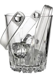 Balde De Gelo Em Vidro Com Pinça Karat 850Ml Transparente