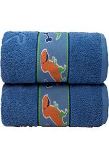 Toalha De Banho Infantil Camesa Dinos Azul
