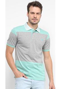 Camisa Polo Gajang Bicolor Manga Curta Masculina - Masculino-Verde