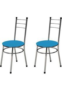 Kit 2 Cadeiras Baixas 0.236 Redonda Cromado/Azul - Marcheli