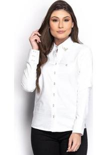 Camisa Camisete Social Feminina Manga Longa Lisa Casual - Feminino-Branco