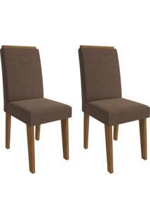 Conjunto Com 2 Cadeiras De Jantar Taís I Suede Savana E Chocolate