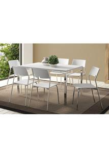Conjunto Mesa 1526 Branca Com 6 Cadeiras 1711 Cromada/Branca Carraro