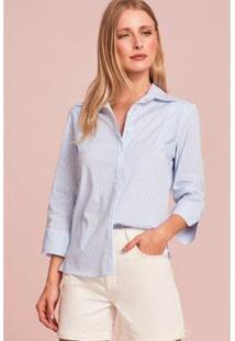 Camisa Rubinella Listrada Slim Feminina - Feminino-Off White+Azul
