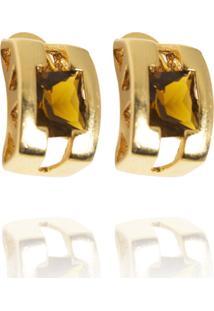 Brinco Curvado Em Formas Quadradas Semijoia Banho De Ouro 18K Topázio Imperial