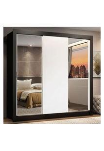 Guarda-Roupa Casal Madesa Lyon 3 Portas De Correr Com Espelhos 2 Gavetas Preto/Branco Branco