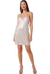 Vestido Curto Malha Jacquard Com Foil