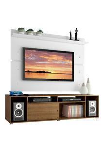 Rack Madesa Cancun E Painel Para Tv Até 65 Polegadas - Rustic/Branco Marrom