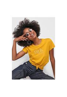 Camiseta Colcci Bordada Amarela