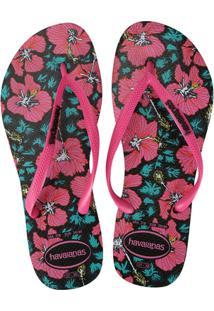 b0ab9c123 R$ 39,99. Zattini Chinelo Feminino Slim Havaianas Pink Preto Floral Sandália  ...