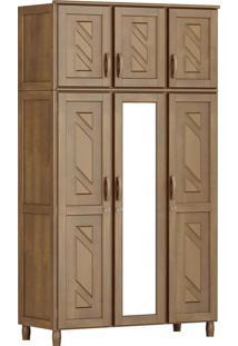 Guarda-Roupa Grécia Solteiro Imbuia Com Espelho 6 Portas Madeira Maciça De Pinus Cavazotto