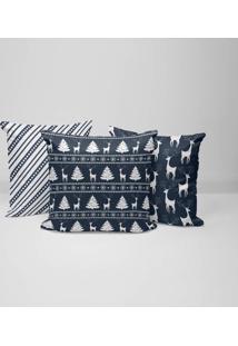 Kit 3 Capas Para Almofadas Love Decor Decorativas Elementos Natalinos Azul