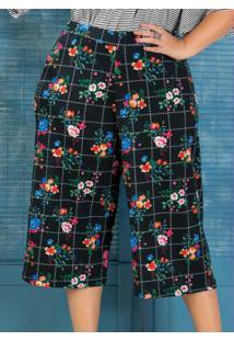 Pantacourt Em Jacquard Plus Size Floral Dark