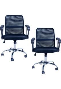 Kit 02 Cadeiras Facthus Premier Office Giratória Preto.