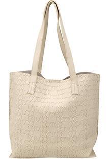 Bolsa Colcci Shopper Croco Tachas Feminina - Feminino-Off White
